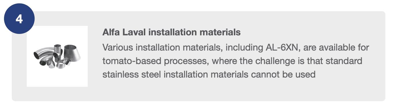 Alfa Laval Installation Materials